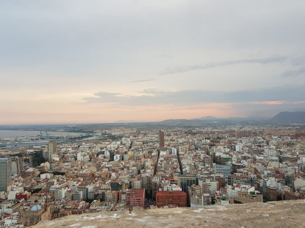Alicante's twilight in a cloudy day.