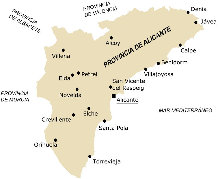 Biggest cities of Alicante Area or Province