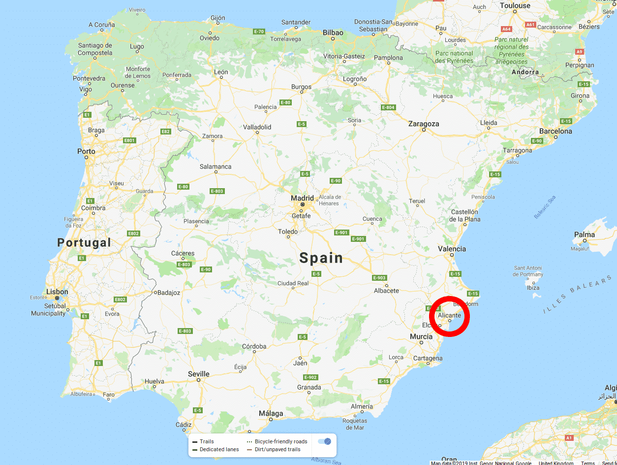 Where is Alicante in the map of Spain